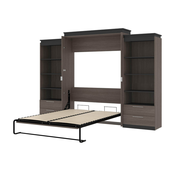 "Orion 124""W Queen Murphy Wall Bed with 2 Shelving Units and Drawers - Available in 2 Colors"