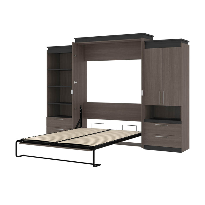 Pending - Bestar Murphy Beds Bark Gray & Graphite Orion 124W Queen Murphy Bed And Multifunctional Storage With Drawers - Available in 2 Colors