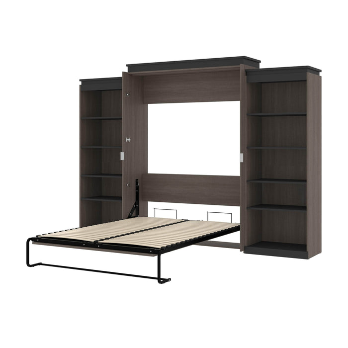 "Orion 124""W Queen Murphy Wall Bed with 2 Shelving Units - Available in 2 Colors"