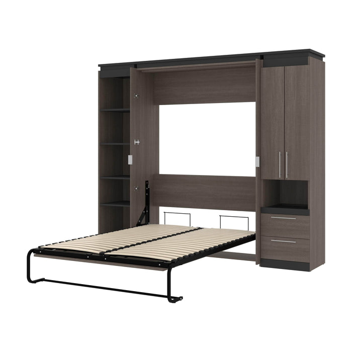 Pending - Bestar Murphy Beds Bark Gray & Graphite Orion 98W Full Murphy Bed With Narrow Storage Solutions - Available in 2 Colors