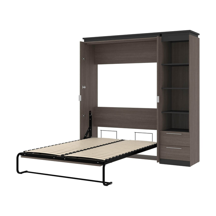 Orion Full Murphy Wall Bed with Narrow Shelving Unit and Drawers - Available in 2 Colors