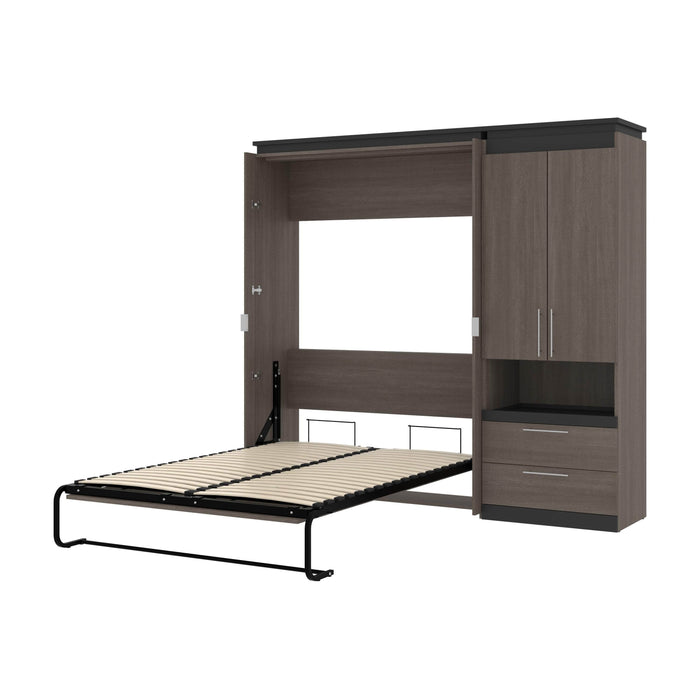 Orion Full Murphy Wall Bed with Storage Cabinet and Pull-Out Shelf - Available in 2 Colors