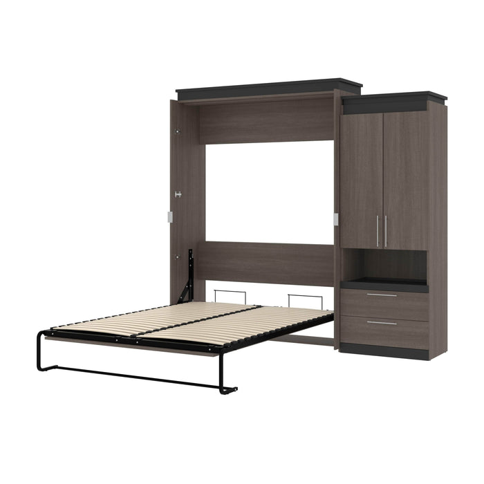Pending - Bestar Murphy Beds Bark Gray & Graphite Orion Queen Murphy Bed And Storage Cabinet With Pull-Out Shelf - Available in 2 Colors