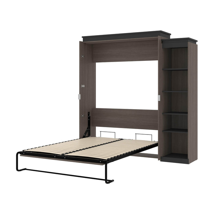 Pending - Bestar Murphy Beds Bark Gray & Graphite Orion Queen Murphy Bed With Narrow Shelving Unit - Available in 2 Colors