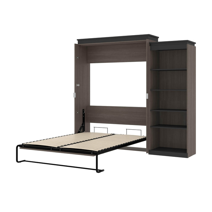 Pending - Bestar Murphy Beds Bark Gray & Graphite Orion Queen Murphy Bed With Shelving Unit - Available in 2 Colors
