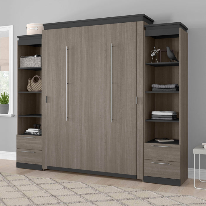 Bestar Queen Murphy Bed Orion 104W Queen Murphy Bed And 2 Narrow Shelving Units With Drawers (105W) In Bark Gray & Graphite
