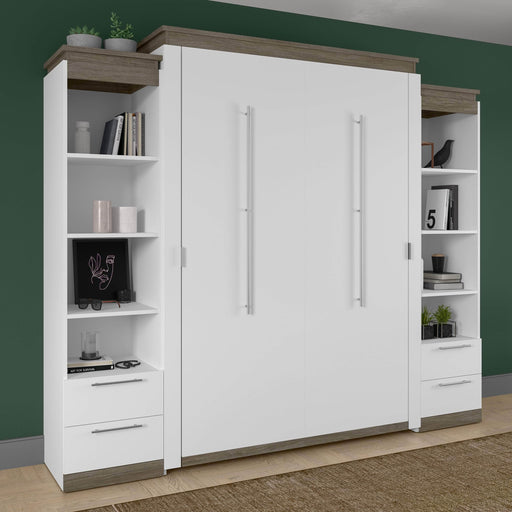 Pending - Bestar Murphy Beds Orion 104W Queen Murphy Bed And 2 Narrow Shelving Units With Drawers - Available in 2 Colors