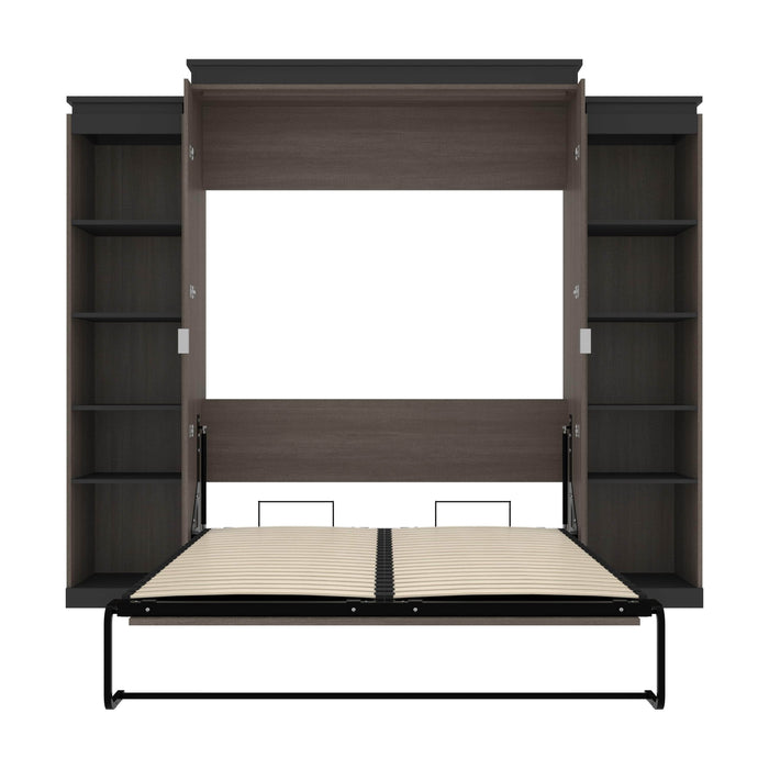 Pending - Bestar Murphy Beds Orion 104W Queen Murphy Bed With 2 Narrow Shelving Units - Available in 2 Colors