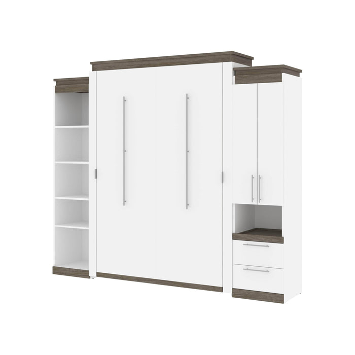 Pending - Bestar Murphy Beds Orion 104W Queen Murphy Bed With Narrow Storage Solutions - Available in 2 Colors