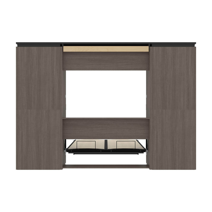 Bestar Full Murphy Bed Orion 118W Full Murphy Bed And 2 Shelving Units With Drawers (119W) In Bark Gray & Graphite
