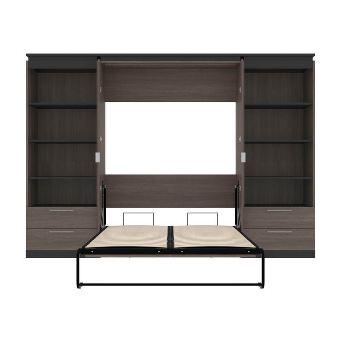 Pending - Bestar Murphy Beds Orion 118W Full Murphy Bed And 2 Shelving Units With Drawers - Available in 2 Colors