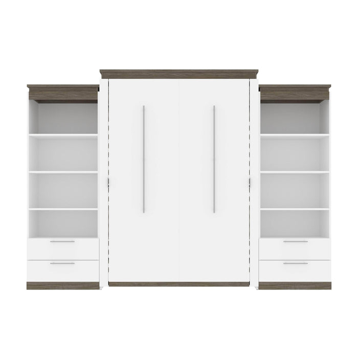 Pending - Bestar Murphy Beds Orion 124W Queen Murphy Bed And 2 Shelving Units With Drawers - Available in 2 Colors