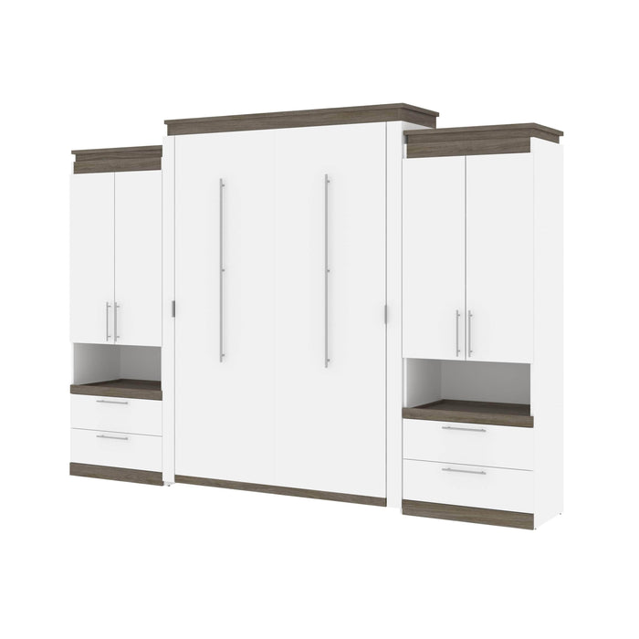 Pending - Bestar Murphy Beds Orion 124W Queen Murphy Bed And 2 Storage Cabinets With Pull-Out Shelves (125W) - Available in 2 Colors