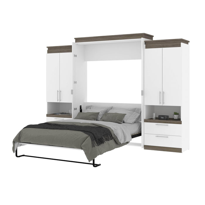 Bestar Queen Murphy Bed Orion 124W Queen Murphy Bed And 2 Storage Cabinets With Pull-Out Shelves (125W) In White & Walnut Grey