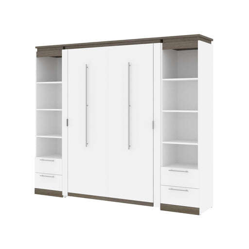 Bestar Full Murphy Bed Orion 98W Full Murphy Bed And 2 Narrow Shelving Units With Drawers (99W) In White & Walnut Grey