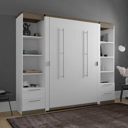 Pending - Bestar Murphy Beds Orion 98W Full Murphy Bed And 2 Narrow Shelving Units With Drawers - Available in 2 Colors