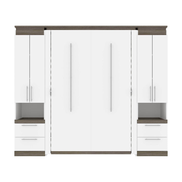 Bestar Full Murphy Bed Orion 98W Full Murphy Bed And 2 Storage Cabinets With Pull-Out Shelves (99W) In White & Walnut Grey