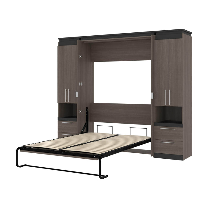 "Orion 98""W Full Murphy Wall Bed with 2 Storage Cabinets and Pull-Out Shelves - Available in 2 Colors"