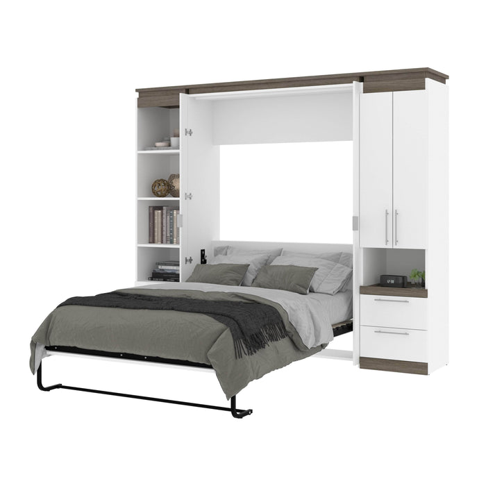 Pending - Bestar Murphy Beds Orion 98W Full Murphy Bed And Narrow Storage Solutions With Drawers - Available in 2 Colors