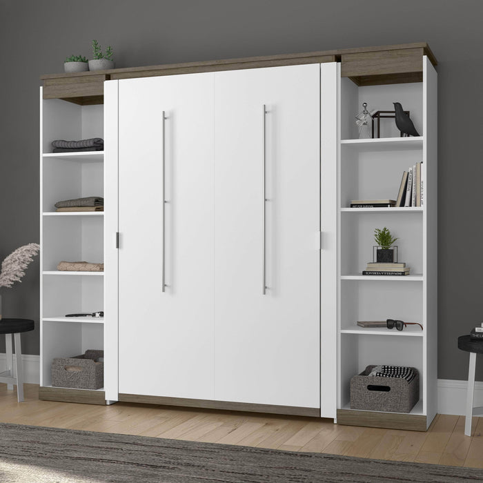Bestar Full Murphy Bed Orion 98W Full Murphy Bed With 2 Narrow Shelving Units (99W) In White & Walnut Grey