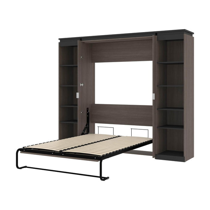 Bestar Full Murphy Bed Orion 98W Full Murphy Bed With 2 Narrow Shelving Units (99W) In Bark Gray & Graphite