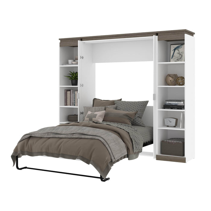 Pending - Bestar Murphy Beds Orion 98W Full Murphy Bed With 2 Narrow Shelving Units - Available in 2 Colors