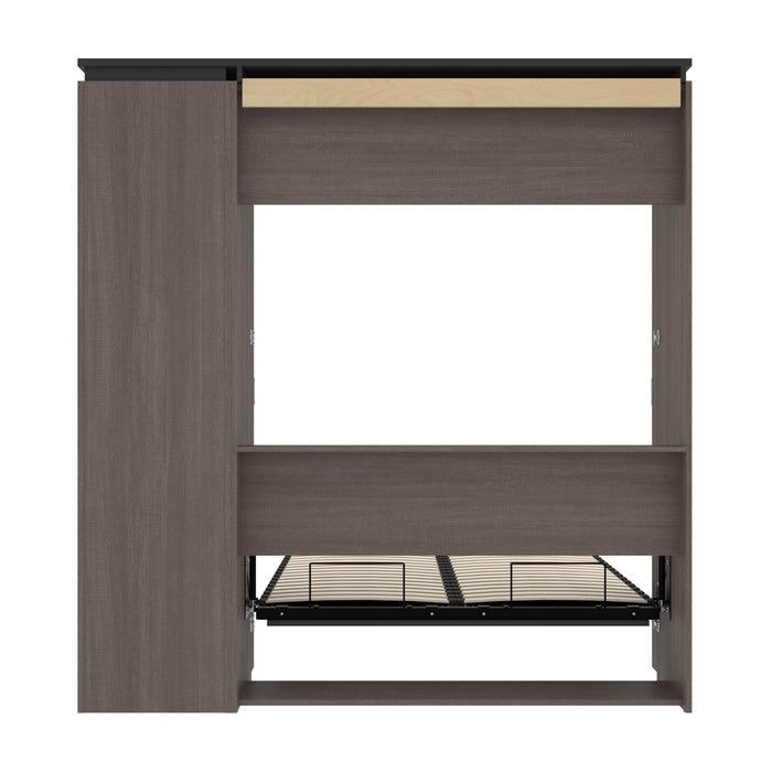 Bestar Full Murphy Bed Orion Full Murphy Bed And Narrow Shelving Unit With Drawers (79W) In Bark Gray & Graphite