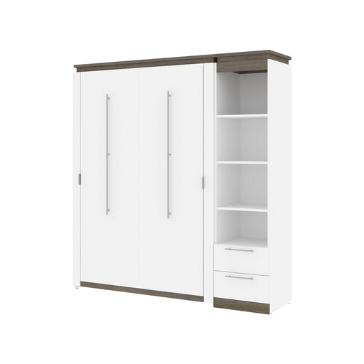 Pending - Bestar Murphy Beds Orion Full Murphy Bed And Narrow Shelving Unit With Drawers - Available in 2 Colors