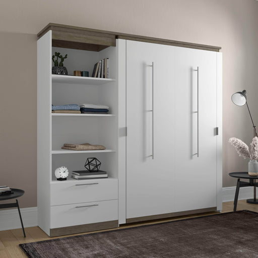 Pending - Bestar Murphy Beds Orion Full Murphy Bed And Shelving Unit With Drawers - Available in 2 Colors