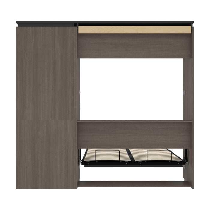 Bestar Full Murphy Bed Orion Full Murphy Bed And Storage Cabinet With Pull-Out Shelf (89W) In Bark Gray & Graphite