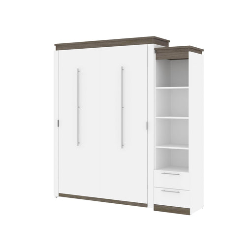 Pending - Bestar Murphy Beds Orion Queen Murphy Bed And Narrow Shelving Unit With Drawers - Available in 2 Colors