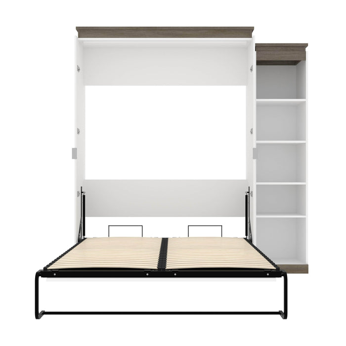 Pending - Bestar Murphy Beds Orion Queen Murphy Bed With Narrow Shelving Unit - Available in 2 Colors