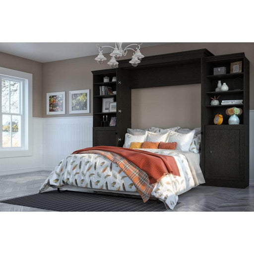 Pending - Bestar Murphy Beds Versatile 120W Queen Murphy Bed And 2 Shelving Units With Doors In Deep Grey