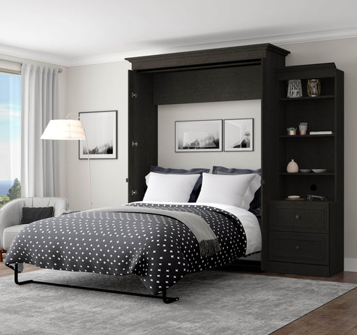 Pending - Bestar Murphy Beds Versatile 95W Queen Murphy Bed And Shelving Unit With 2 Drawers In Deep Grey