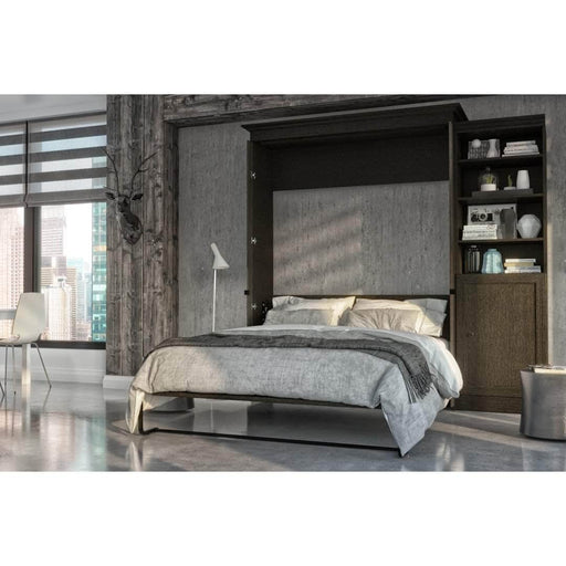Pending - Bestar Murphy Beds Versatile 95W Queen Murphy Bed And Shelving Unit With Door In Deep Grey