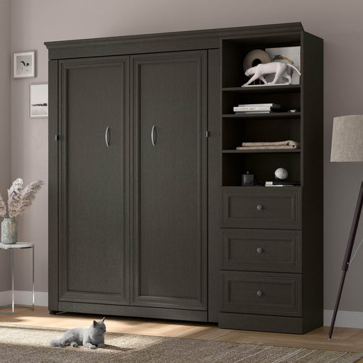 Bestar Murphy Beds Versatile Full Murphy Bed And Shelving Unit With Drawers In Deep Grey