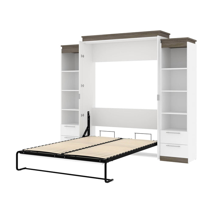 Pending - Bestar Murphy Beds White & Walnut Grey Orion 104W Queen Murphy Bed And 2 Narrow Shelving Units With Drawers - Available in 2 Colors