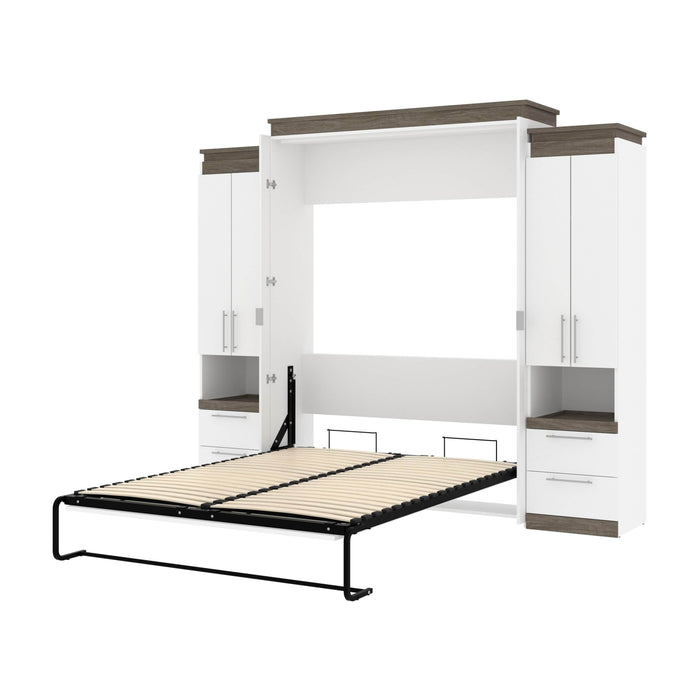 Pending - Bestar Murphy Beds White & Walnut Grey Orion 104W Queen Murphy Bed And 2 Storage Cabinets With Pull-Out Shelves - Available in 2 Colors