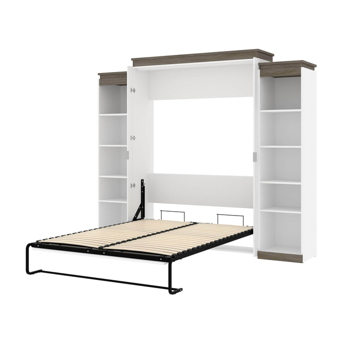 Pending - Bestar Murphy Beds White & Walnut Grey Orion 104W Queen Murphy Bed With 2 Narrow Shelving Units - Available in 2 Colors