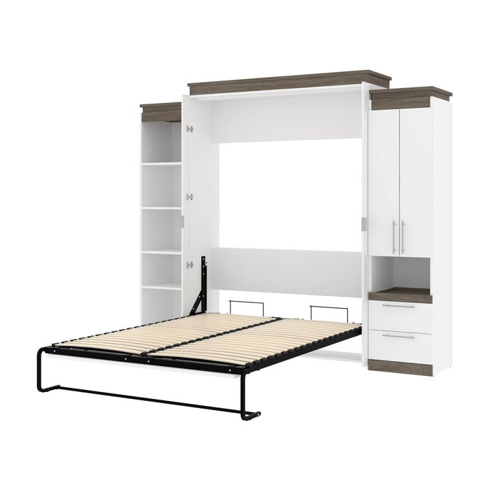 Pending - Bestar Murphy Beds White & Walnut Grey Orion 104W Queen Murphy Bed With Narrow Storage Solutions - Available in 2 Colors