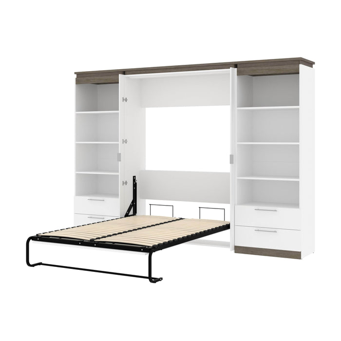 Pending - Bestar Murphy Beds White & Walnut Grey Orion 118W Full Murphy Bed And 2 Shelving Units With Drawers - Available in 2 Colors