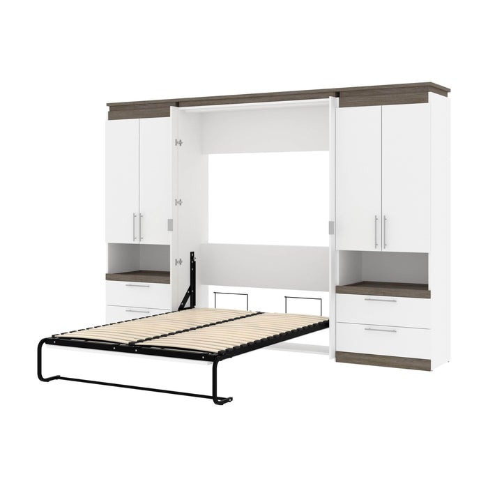Pending - Bestar Murphy Beds White & Walnut Grey Orion 118W Full Murphy Bed And 2 Storage Cabinets With Pull-Out Shelves - Available in 2 Colors