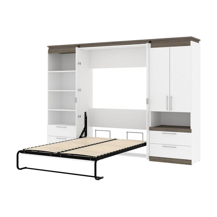 Pending - Bestar Murphy Beds White & Walnut Grey Orion 118W Full Murphy Bed And Multifunctional Storage With Drawers (119W) - Available in 2 Colors