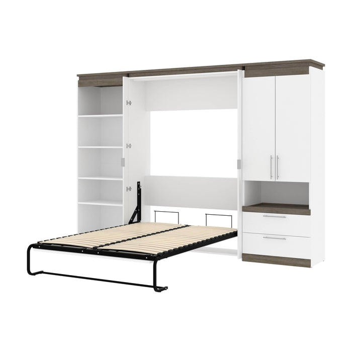 Pending - Bestar Murphy Beds White & Walnut Grey Orion 118W Full Murphy Bed With Multifunctional Storage - Available in 2 Colors