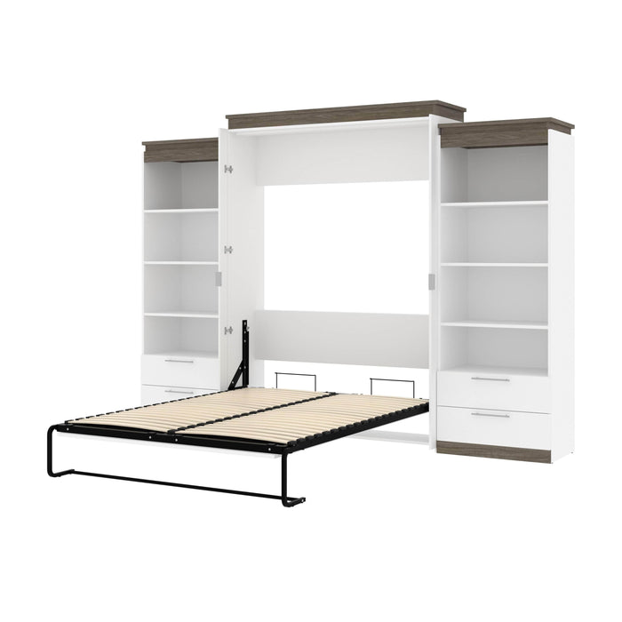 Pending - Bestar Murphy Beds White & Walnut Grey Orion 124W Queen Murphy Bed And 2 Shelving Units With Drawers - Available in 2 Colors
