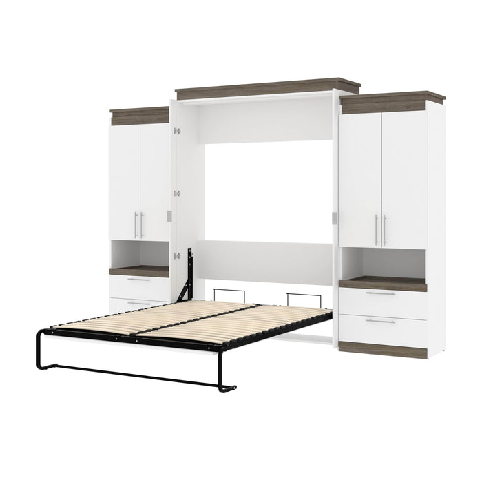 Pending - Bestar Murphy Beds White & Walnut Grey Orion 124W Queen Murphy Bed And 2 Storage Cabinets With Pull-Out Shelves (125W) - Available in 2 Colors