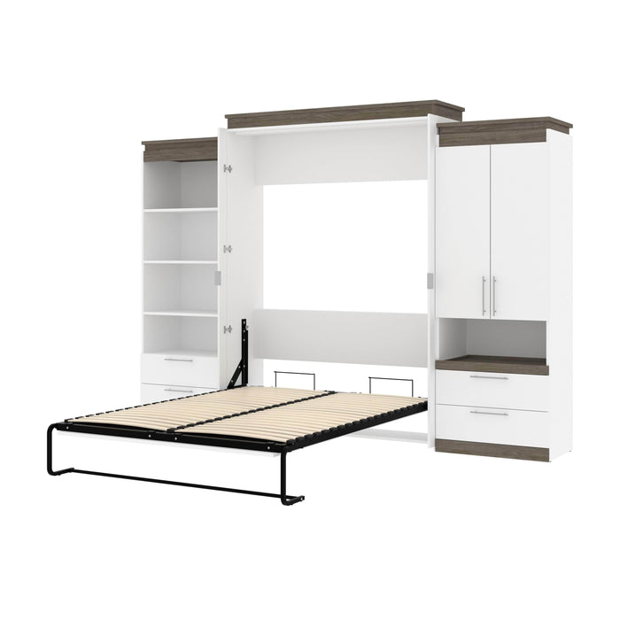 Pending - Bestar Murphy Beds White & Walnut Grey Orion 124W Queen Murphy Bed And Multifunctional Storage With Drawers - Available in 2 Colors