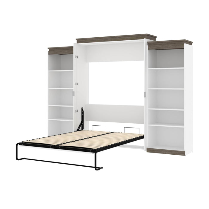 Pending - Bestar Murphy Beds White & Walnut Grey Orion 124W Queen Murphy Bed With 2 Shelving Units - Available in 2 Colors