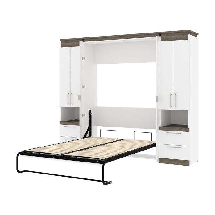 Pending - Bestar Murphy Beds White & Walnut Grey Orion 98W Full Murphy Bed And 2 Storage Cabinets With Pull-Out Shelves - Available in 2 Colors