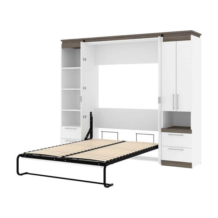 Pending - Bestar Murphy Beds White & Walnut Grey Orion 98W Full Murphy Bed And Narrow Storage Solutions With Drawers - Available in 2 Colors